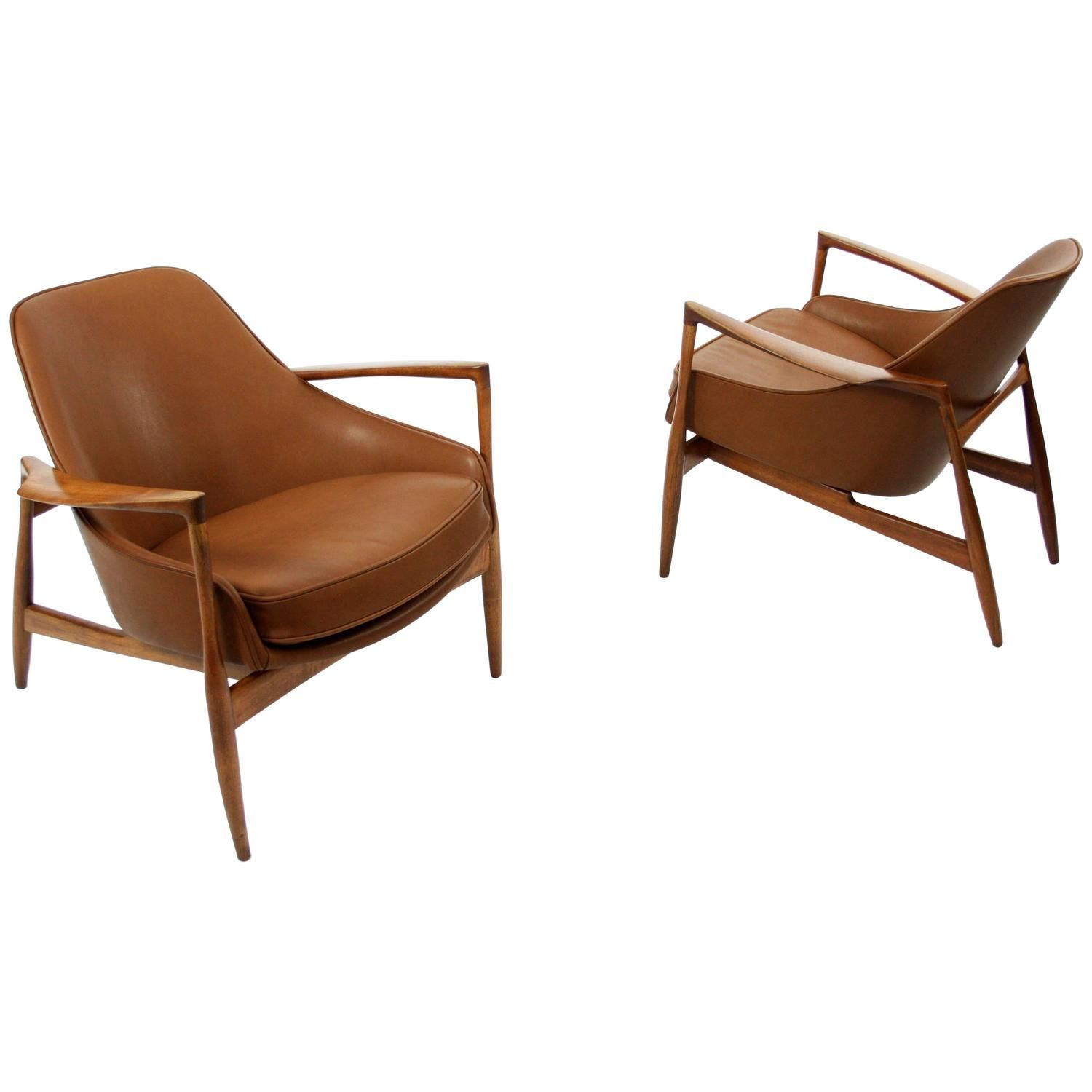 Pair Of Teak And Leather Lounge Chairs By Ib Kofod Larsen,