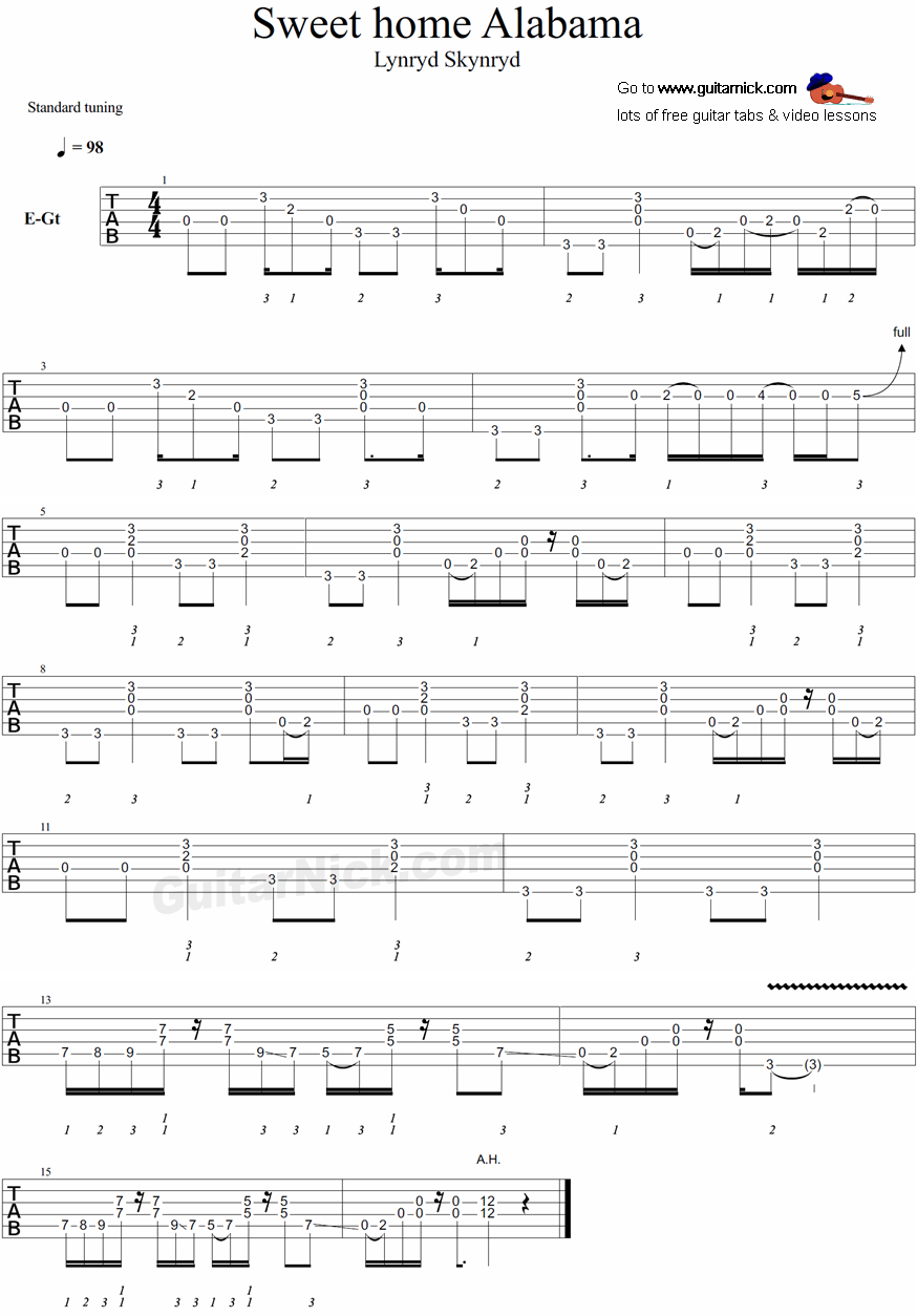 D, c, g ~intro picking~ big wheels keep on turning carry home to see my kin singing songs about the south land i miss my family once again and i think it's the same. Sweet Home Alabama Guitar Tab Guitar Tabs Easy Guitar Bass Guitar Tabs