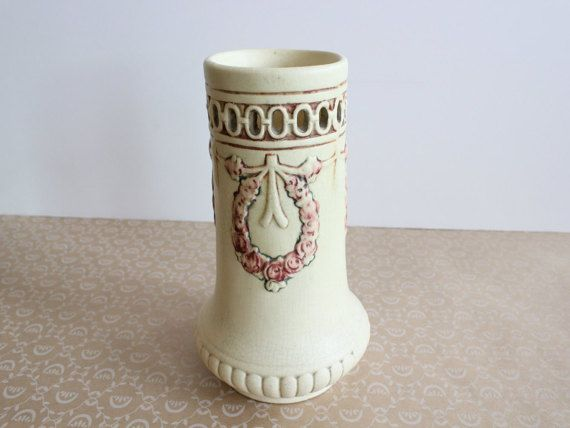 Antique Weller Pottery Roma Vase Art Nouveau Pierced Pottery Vase