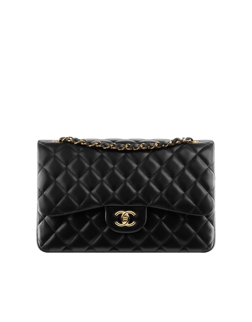 c979be6e Large 2.55 flap bag, lambskin & gold metal-black & burgundy - CHANEL ...
