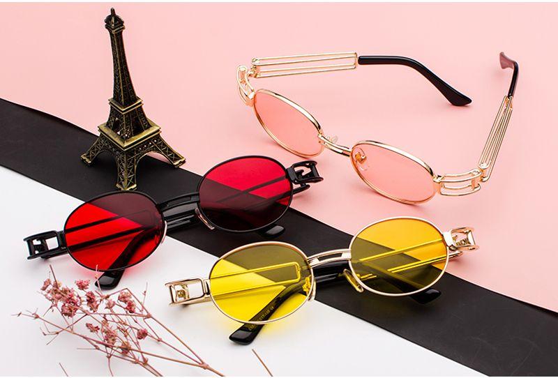 2d0f62ec48  5.99 Peekaboo retro oval sunglasses men retro 2019 black red tint lens women  round sun glasses for men steampunk metal frame  ovalsunglasses  steampunk