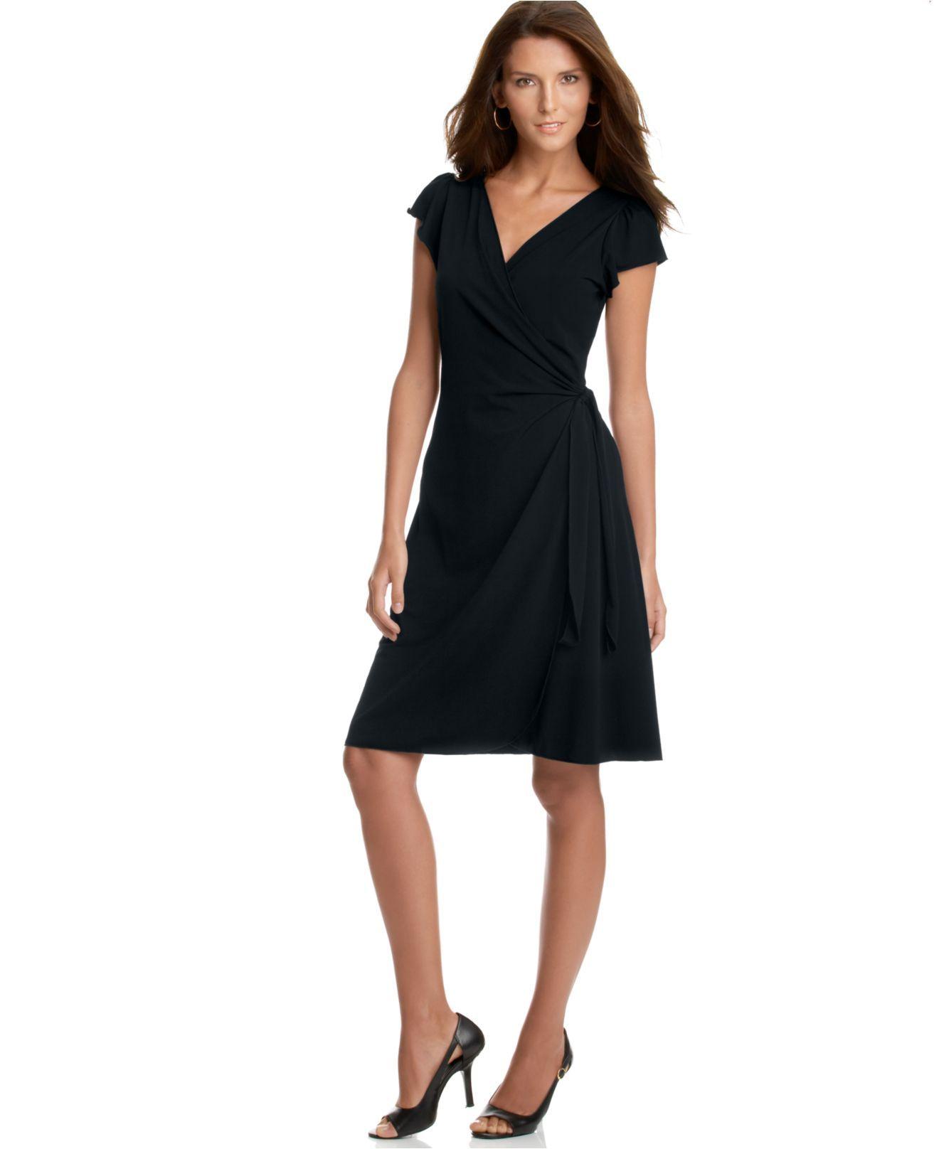 Lace dress macys  Studio M Dress Flutter Sleeve Matte Jersey Wrap Cocktail Dress
