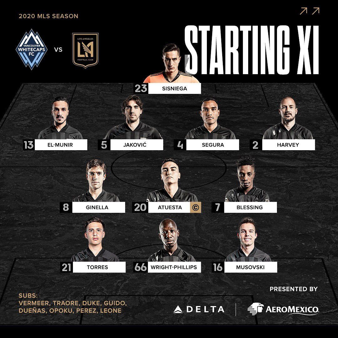 Los Angeles Football Club On Instagram Starting Xi Presented By Delta And Aeromexico Vanvlafc In 2020 Los Angeles Football Club Football Club Delta
