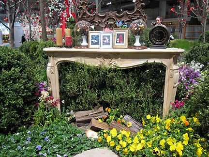 I love unique garden ideas. A fireplace among flowers is inspiration ...
