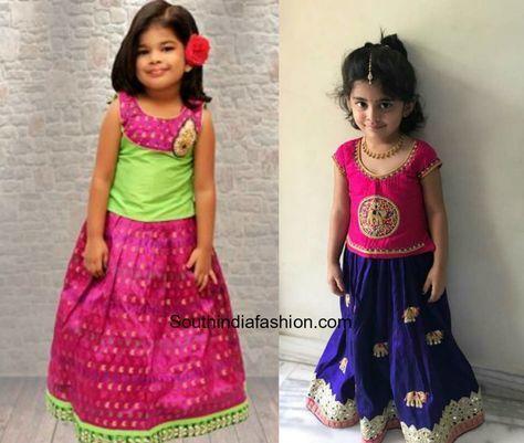1763e98b2c Kids Pattu Pavadai Designs | kids | Kids pattu pavadai, Kids blouse ...