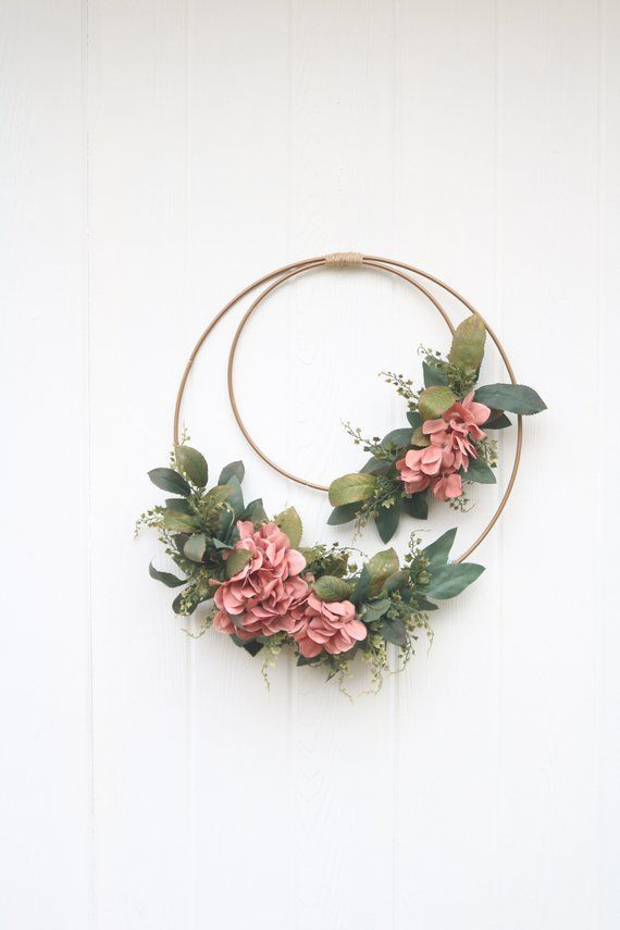 Photo of Blush hydrangea flowers spring door wreath   Gold metal pink flower ribbon wreath   Mo …