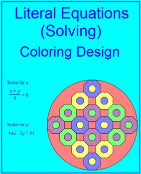 Literal Equations (Solving) 1 Coloring Activity