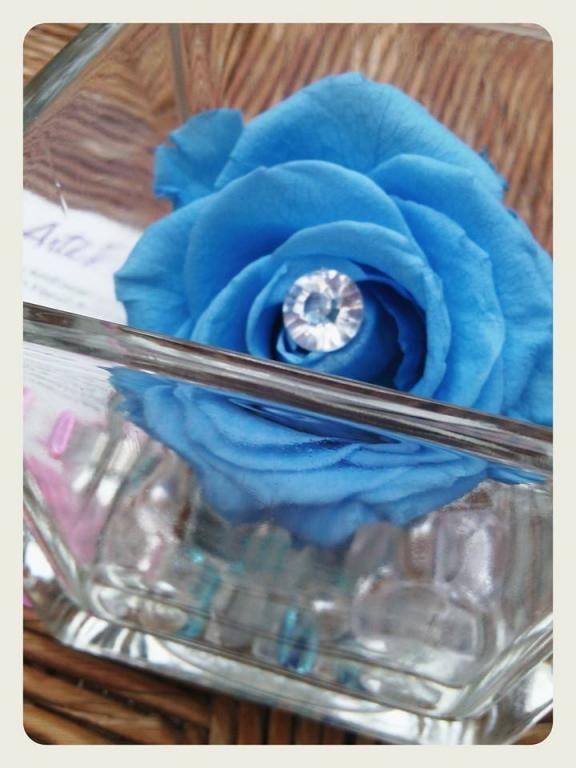 vase cube rose bleue & diamants fleur naturelle cadeaux noel - art