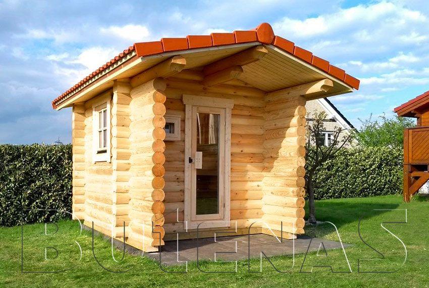 Exklusive Rundbohlensauna Remi Sauna Im Garten Holzgarage Blockhaus