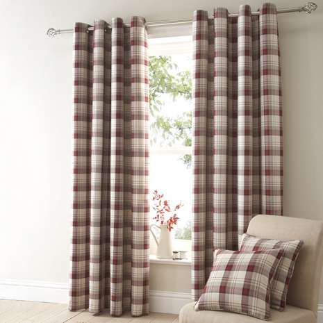 Balmoral Red Eyelet Curtains With Images Dining Room Curtains