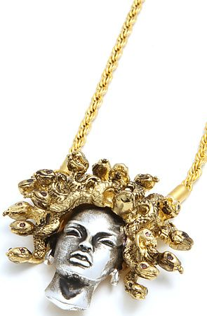 Han Cholo Necklace Medusa Pendant in Silver Gold Karmaloopcom