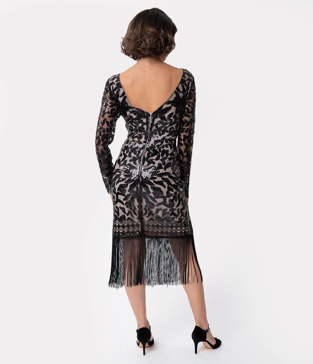Unique Vintage 1920s Beige Black Sequin Long Sleeve Zulma Cocktail Dress Dresses Unique Dresses Flapper Inspired Dress [ 1275 x 1095 Pixel ]