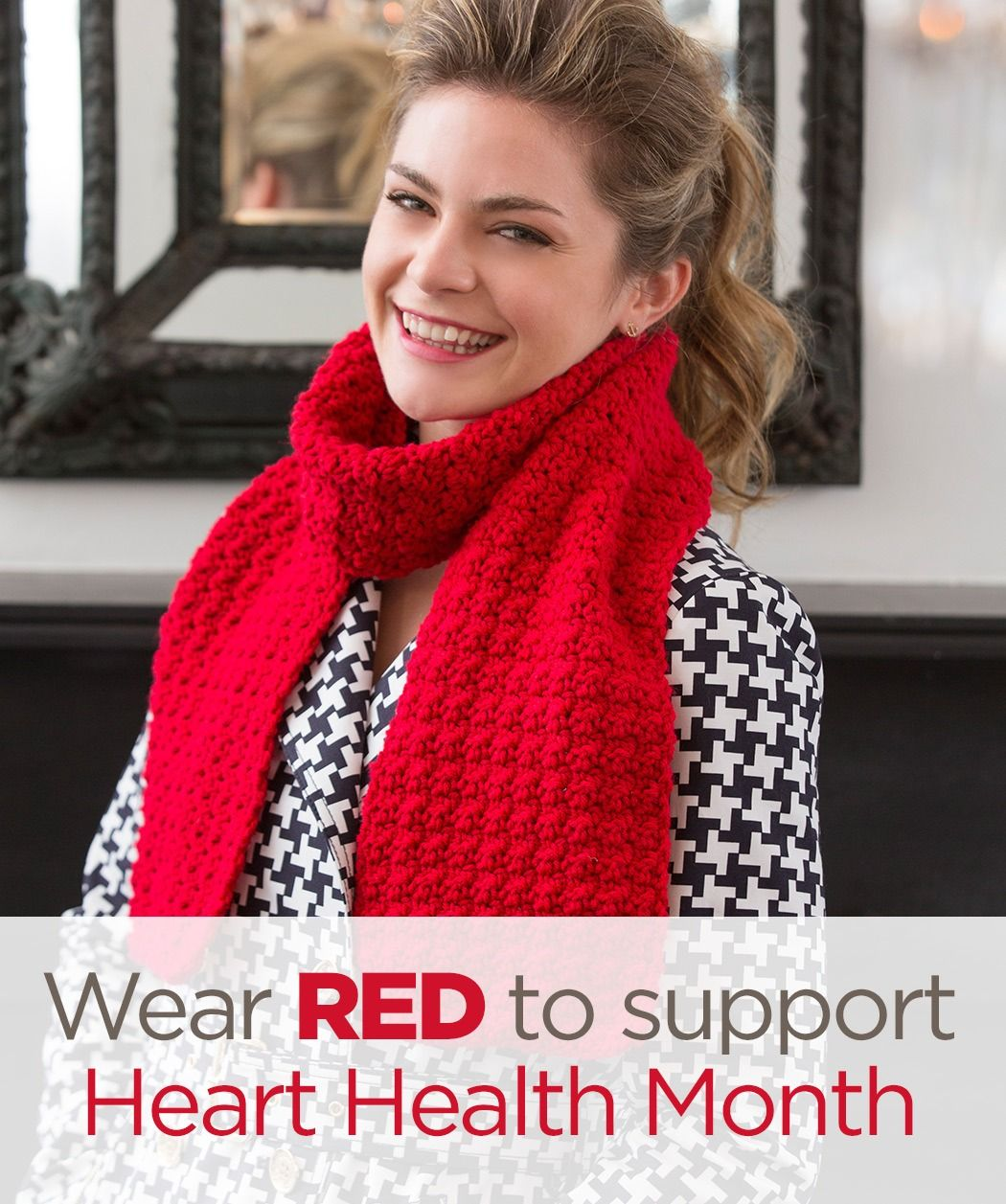 Wear red to support heart health month stitch a hug with red berry stitch scarf free crochet pattern from red heart yarns bankloansurffo Image collections