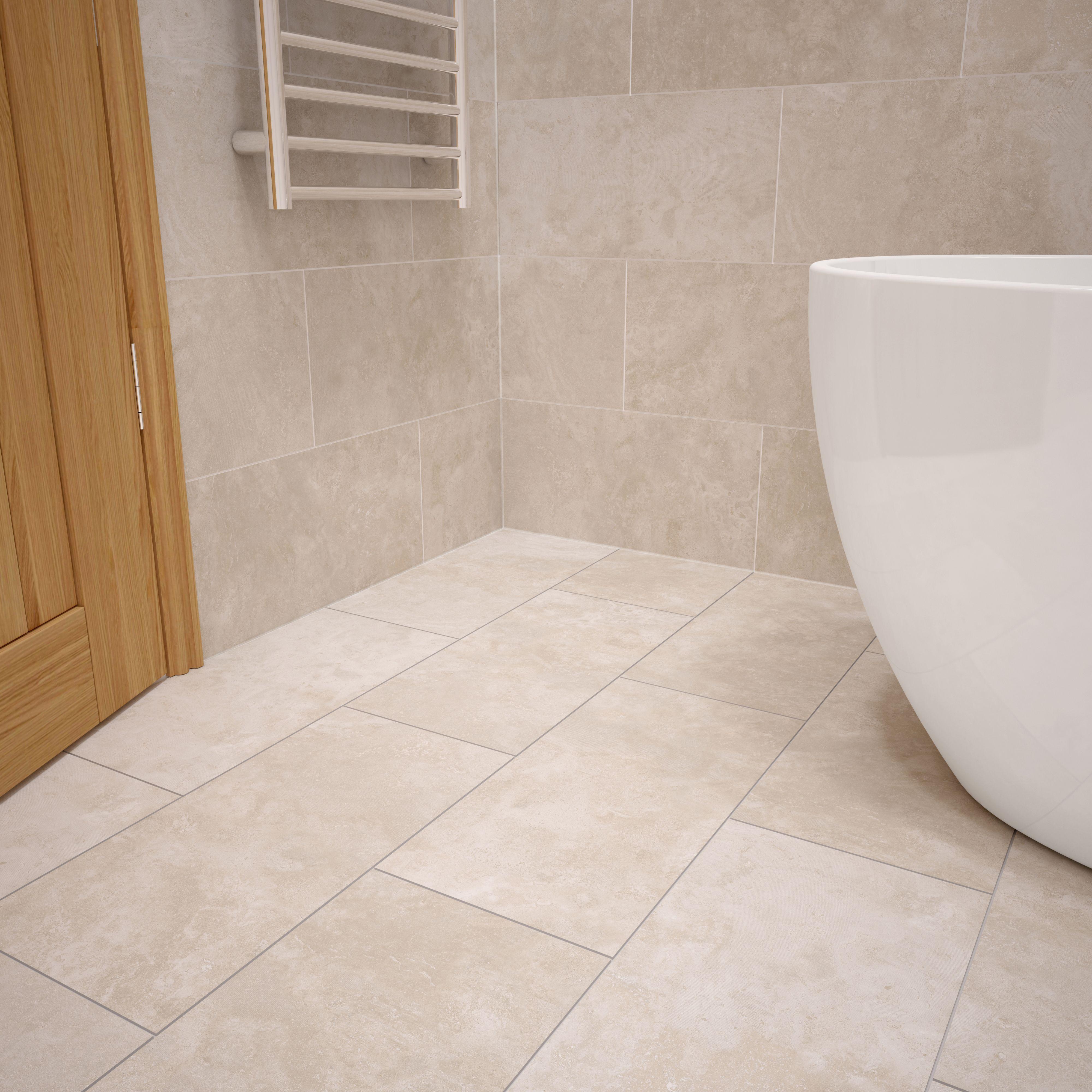 urban cement cream stone effect ceramic wall floor tile pack of 5