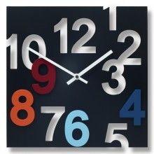 """RIGOLETTO BLACK CLOCK:  Wood face,Acrylic hands,Wood numbers  Taiwanese movement  Wall mount  Takes 1 AA battery  $100.00  Specs:  Length: 11.75""""  Depth: 1.5:  Height: 11.75"""""""