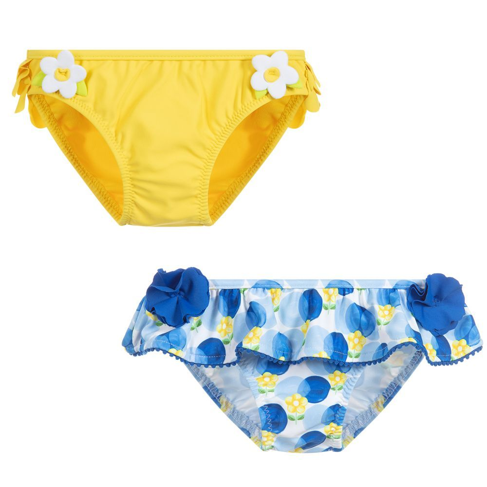 de00d1b6e8 A pack of two bikini bottoms for little girls by Mayoral, in yellow and  blue. Soft, silky and stretchy, they are trimmed with flowers and ruffles.
