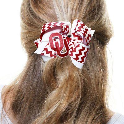 Oklahoma Sooners Womens Chevron Logo King Hair Bow