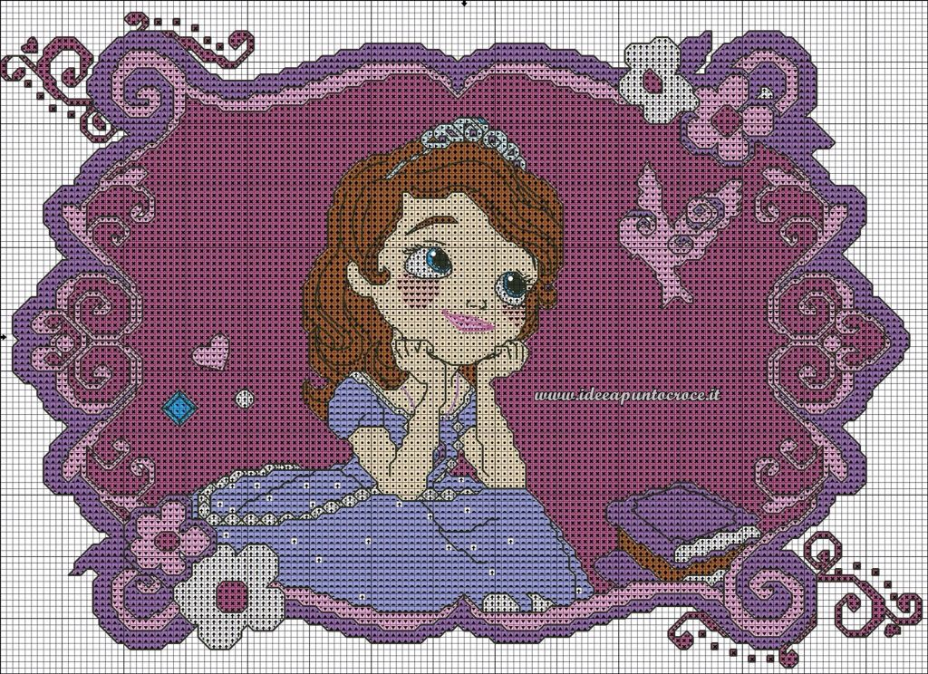 Sophia The First Cross Stitch 3 4 Punto De Cruz Infantil Punto De Cruz Patrones De Bordado