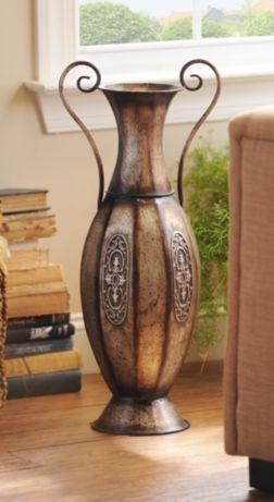 Pewter Urn Embossed Metal Floor Vase Floor Vase Decor Metal
