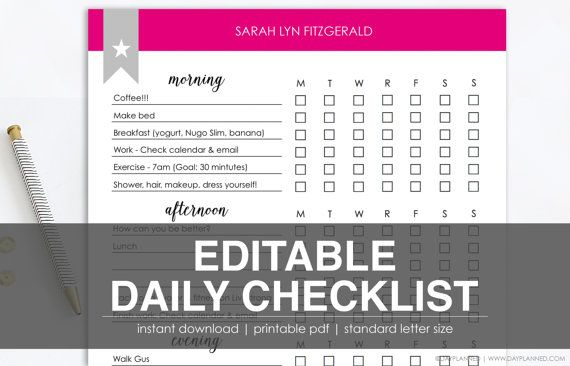 Editable Daily Checklist  Printable Task List  Instant Download