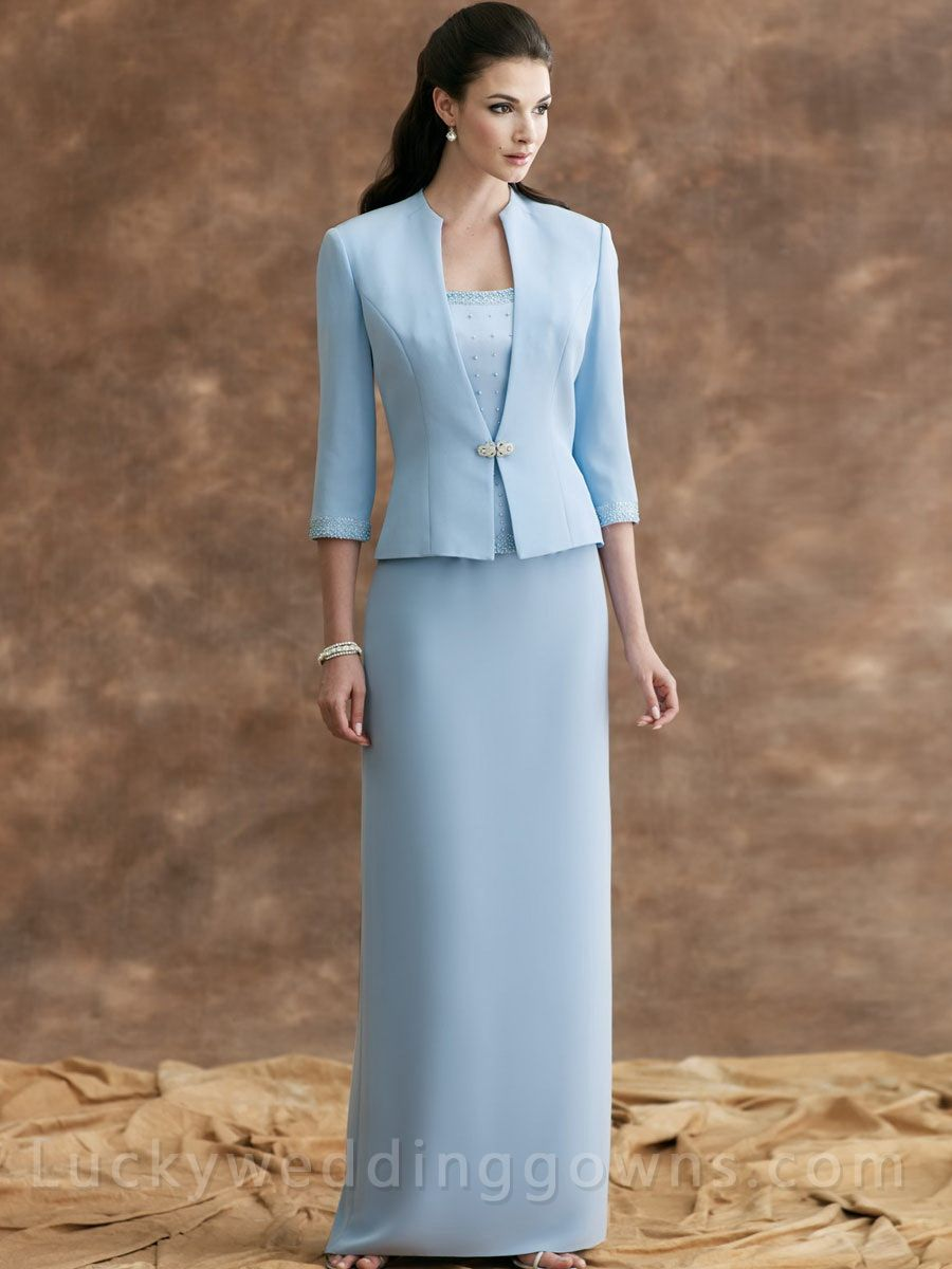 Two-piece Crepe Suit Strapless Mother Dress with 3/4 Sleeves ...