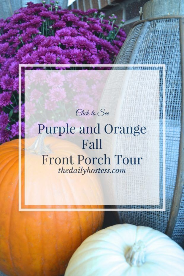 Purple and Orange Fall Front Porch Tour #fallfrontporchdecor Click here to take a tour of a purple and orange fall front porch. Welcome! #fallfrontporchdecor