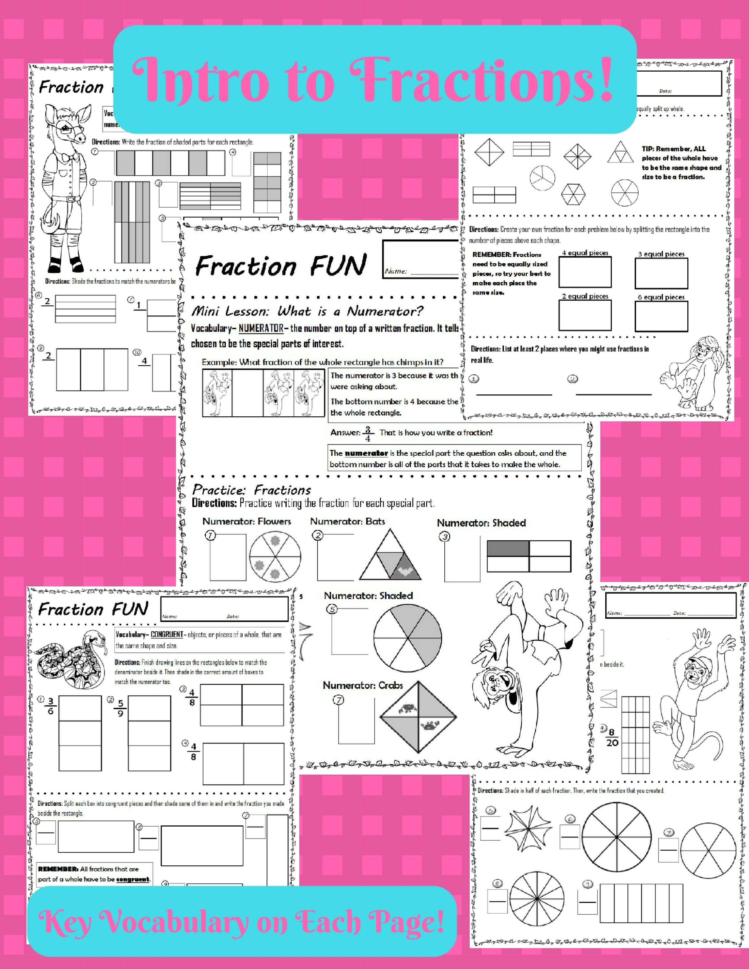 Fractions Parts Of A Whole Introduction W Vocab