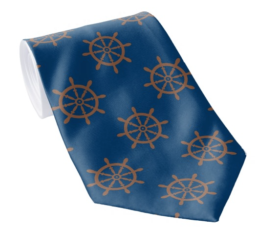 Ship's wheel tie in brown and navy blue.  All-over pattern on both sides.  #nautical theme for a summer / wedding event.