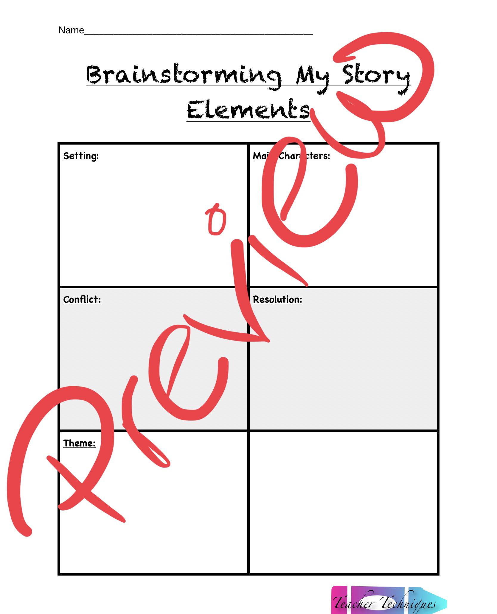 Writing With Story Elements Brainstorming Sheet And