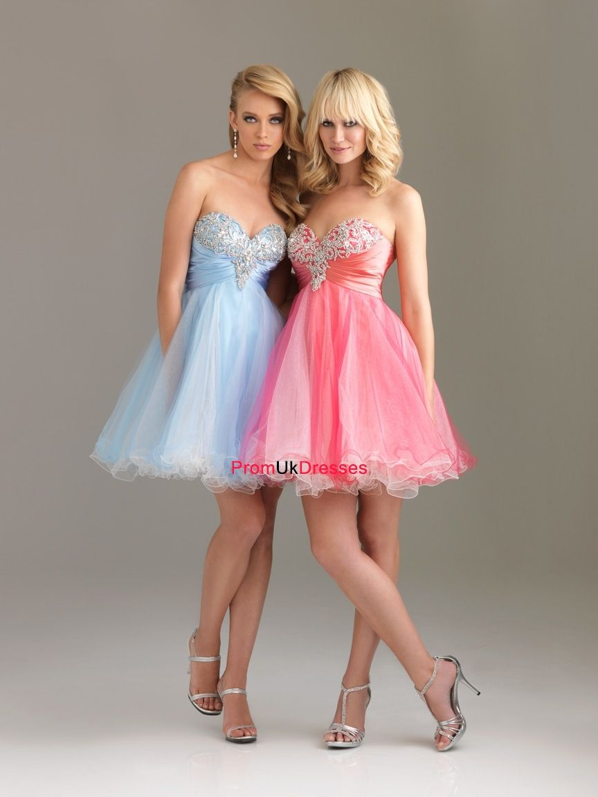 A-line Sequin Bodice Sweetheart Satin and Tulle Short Prom Dress ...