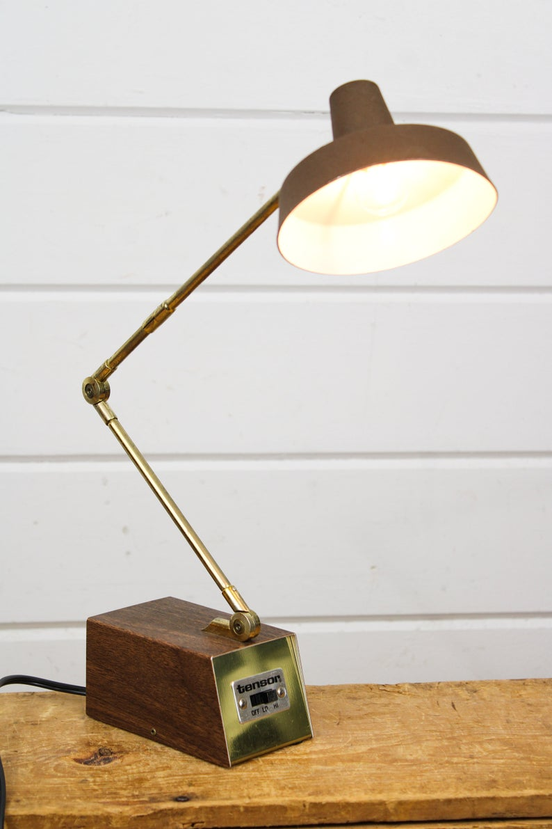 Vintage Working Small Tenson Desk Lamp With Adjustable Neck Accent