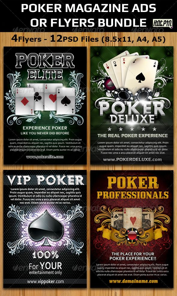 Poker Magazine AdsFlyers Template Bundle  Magazine Ads Flyer