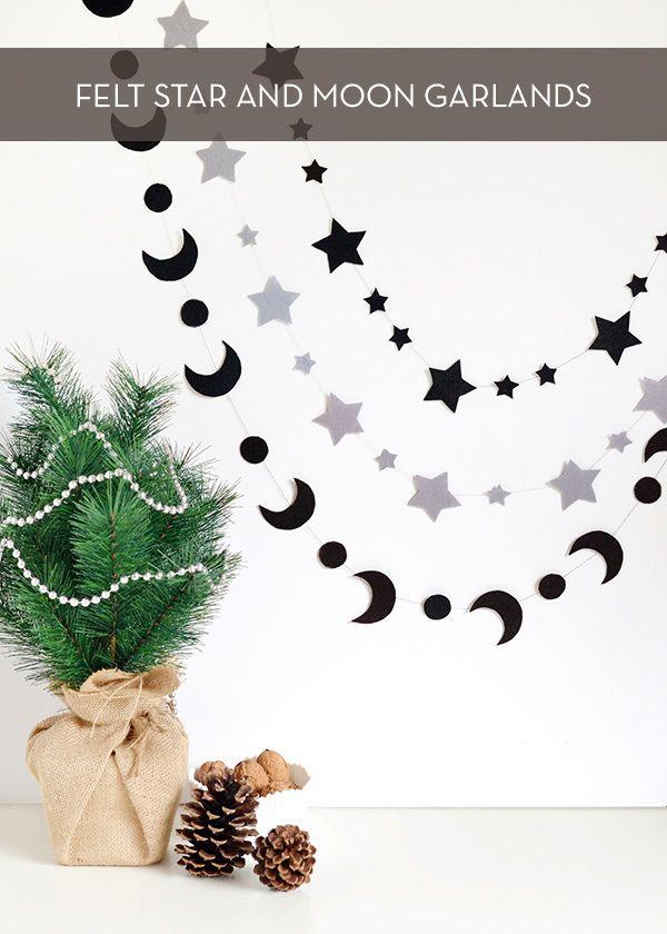 DIY felt star and moon garlands