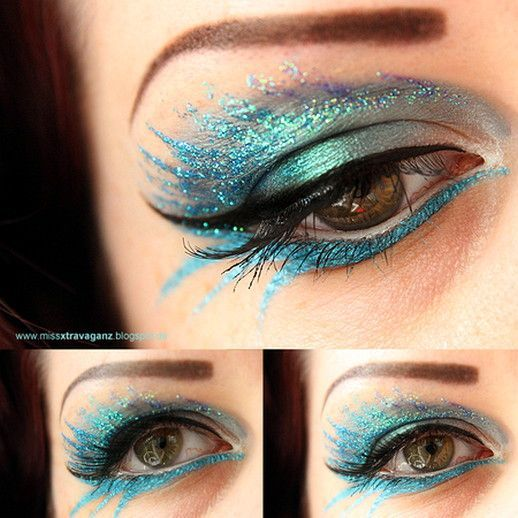 Peacock Inspired Dramatic Eye Makeup Ideas #glittereyemakeup