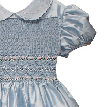 Hand Smocked, French Blue Silk Flowergirl's Dress - dottiedoolittle.com