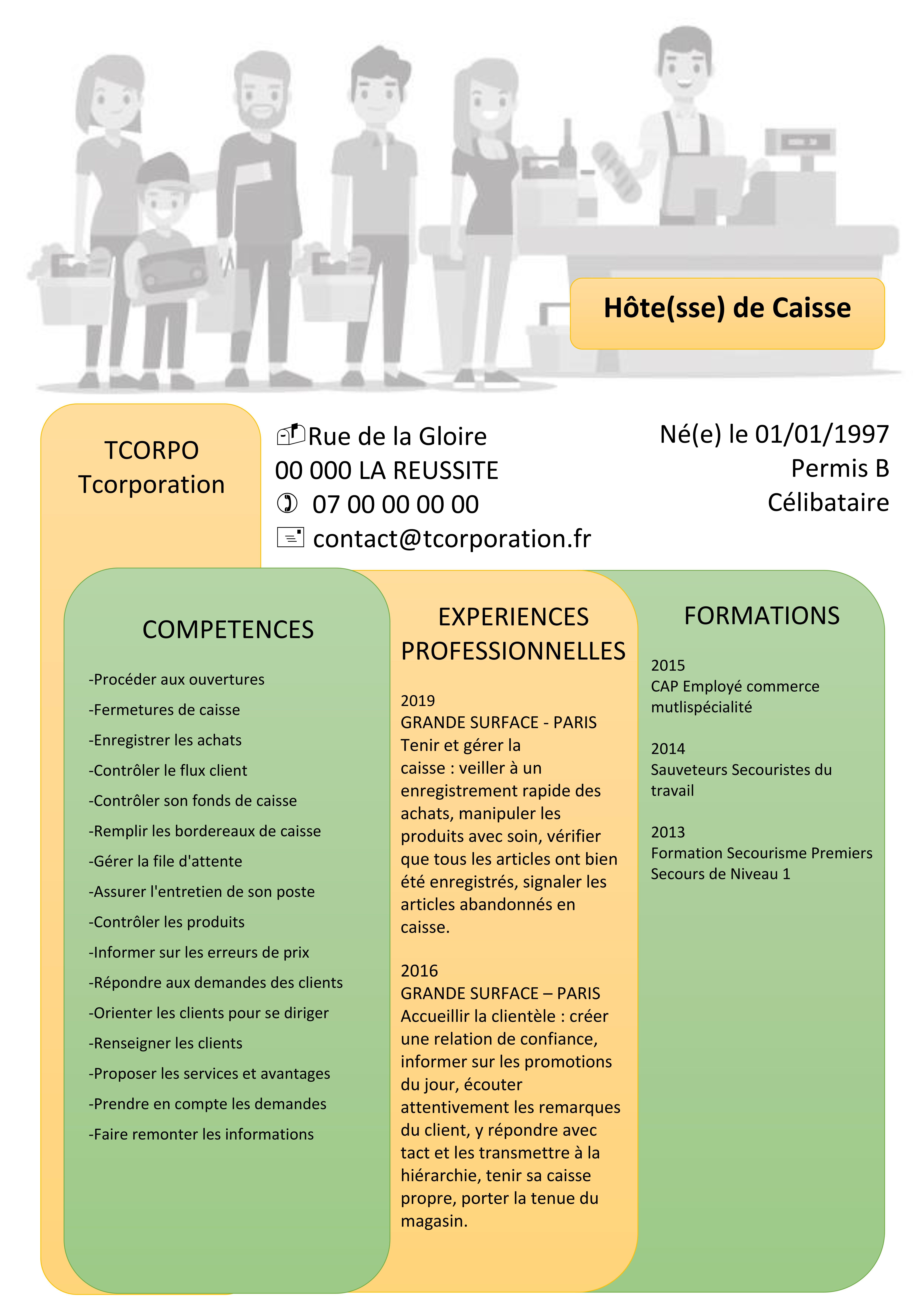 Hote Sse De Caisse Cv Experiences Professionnelles Formations Competences Hotesse De Caisse Permis B Competences