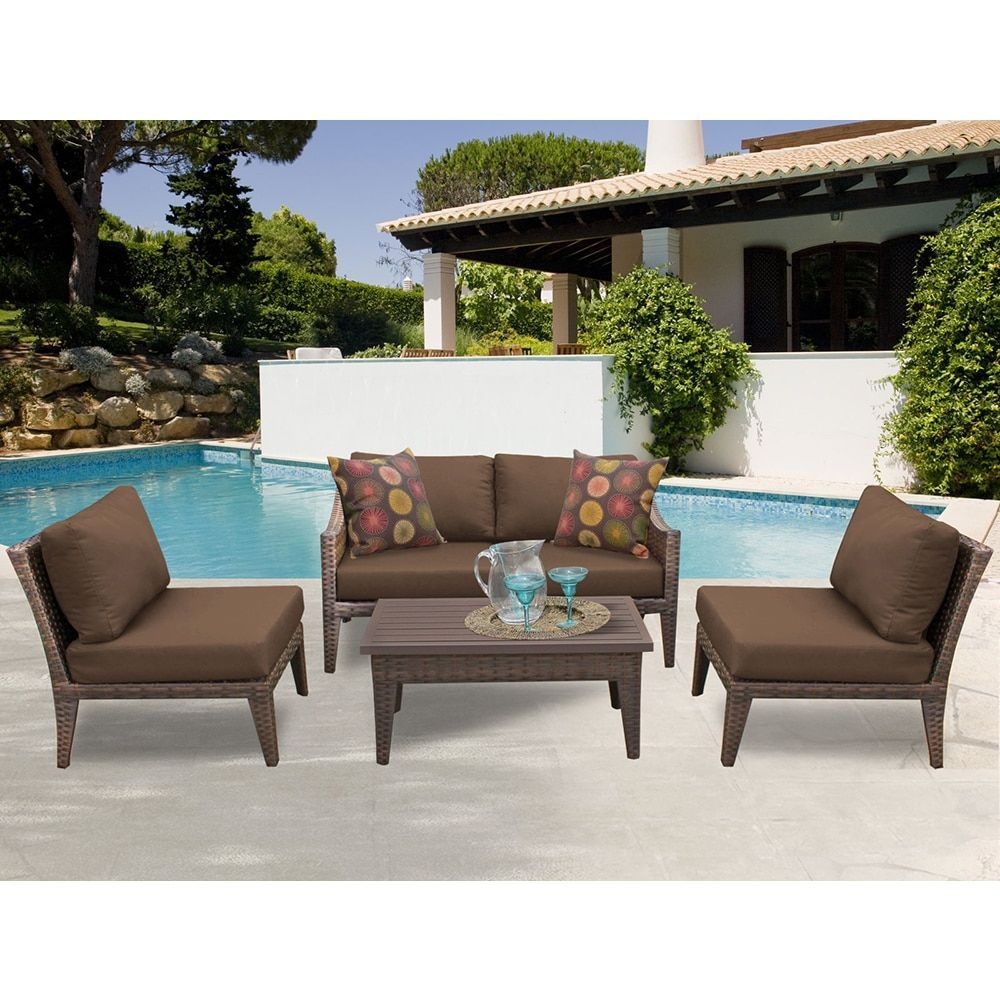 TK Classics Manhattan 5 Piece Outdoor Wicker Patio Furniture Set 05g  (Size), Brown