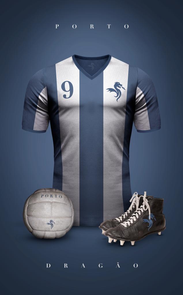 Diseño  Camisetas de Fútbol Vintage.   Porto f8ae06446eaa0