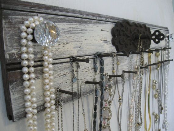 Rustic Jewelry Holder 24 Inches Long Metal Key Lock Distressed