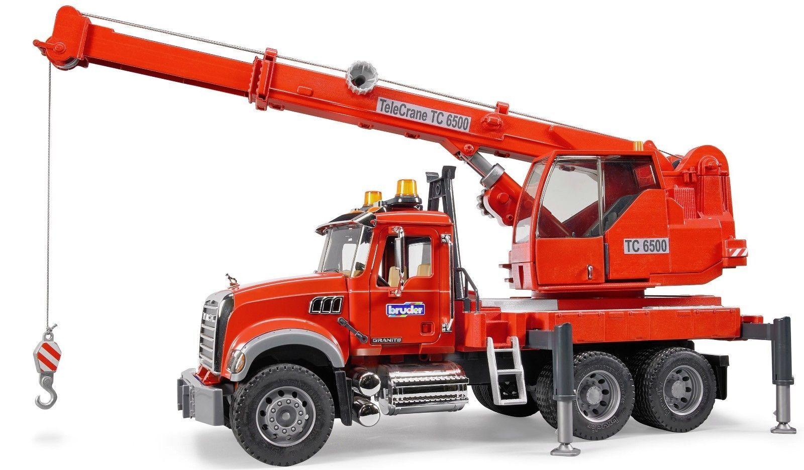 Bruder Toys Kids MACK Granite Crane Truck with Light and Sound Module 02826 NEW