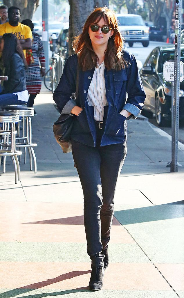 Dakota Johnson rocks a denim on denim look out in Los Feliz!