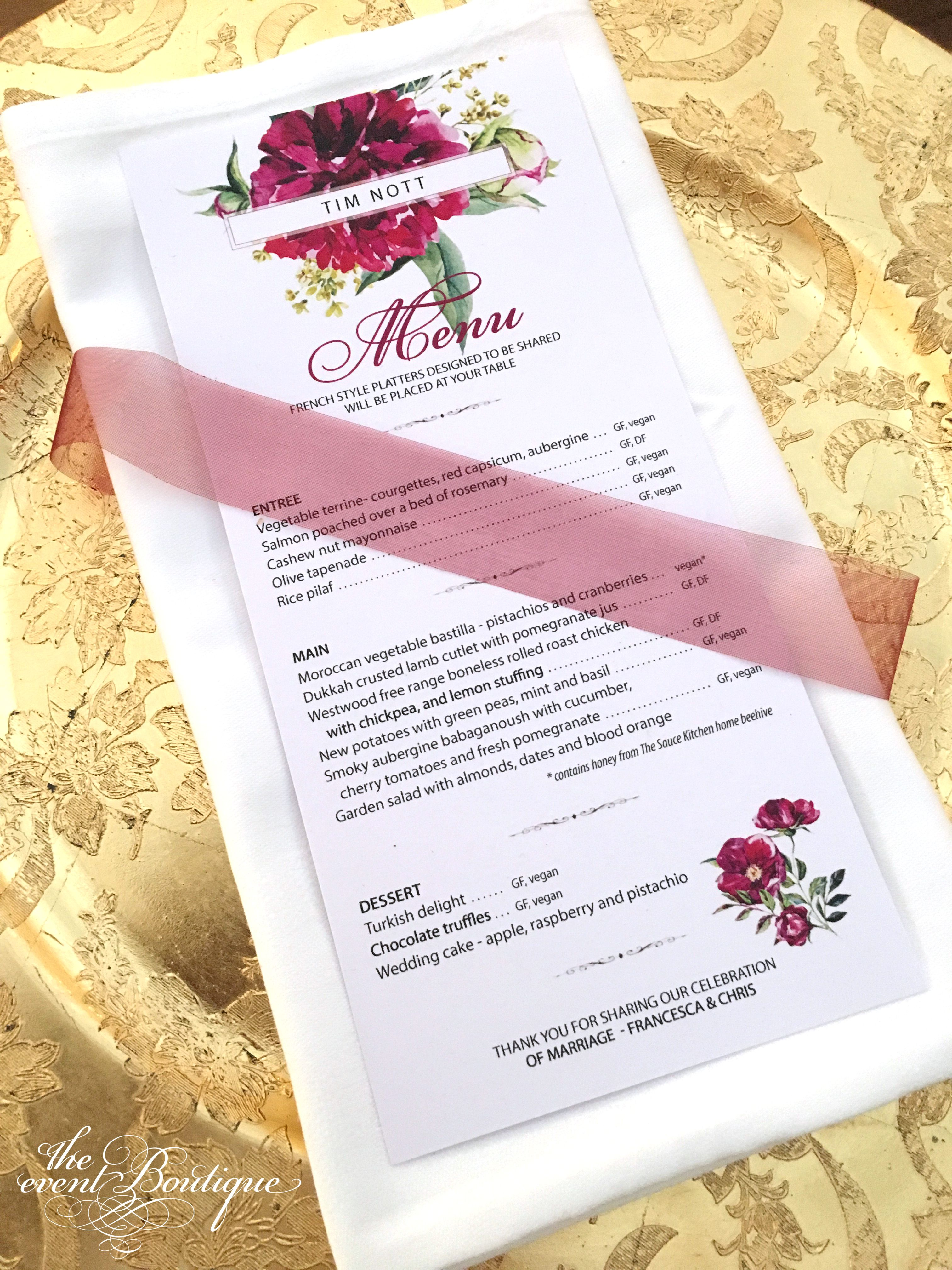 Peony floral style menus/place name cards, finished with organza ...