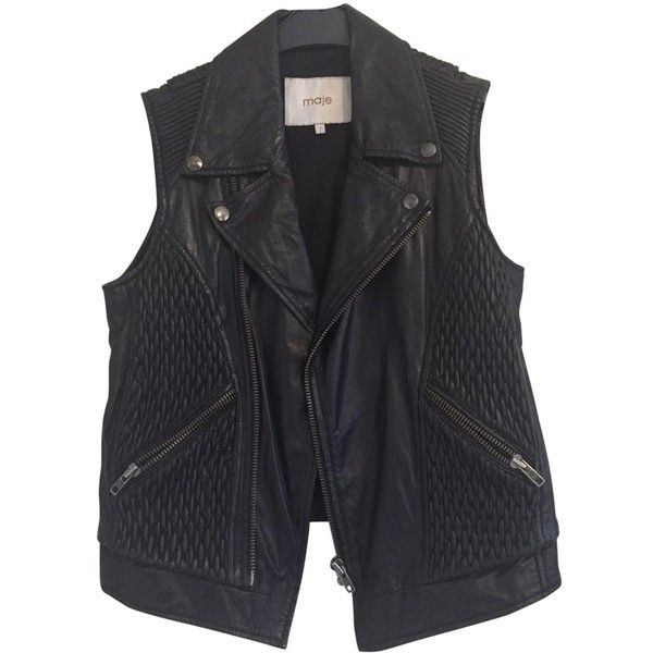 Pre-owned Maje Leather Sleeveless Jacket Jacket ($251) ❤ liked on Polyvore featuring outerwear, jackets, black, women clothing jackets, sleeveless leather jacket, leather jackets, no sleeve jacket, genuine leather jackets and maje jacket