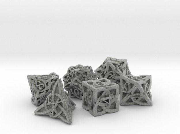 Celtic Dice Set - Solid Centre for Plastic 3d printed ($30)