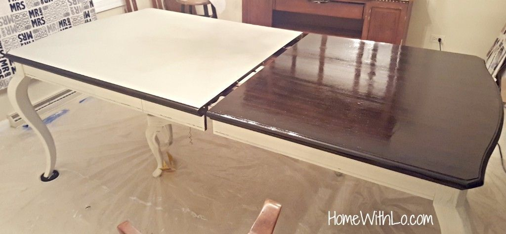 How I Refinished A Wood Veneer Table Top To Make It Look Like Solid Wood Using Stain Over Paint Kitchen Table Redo Painting Veneer Furniture Refinished Table
