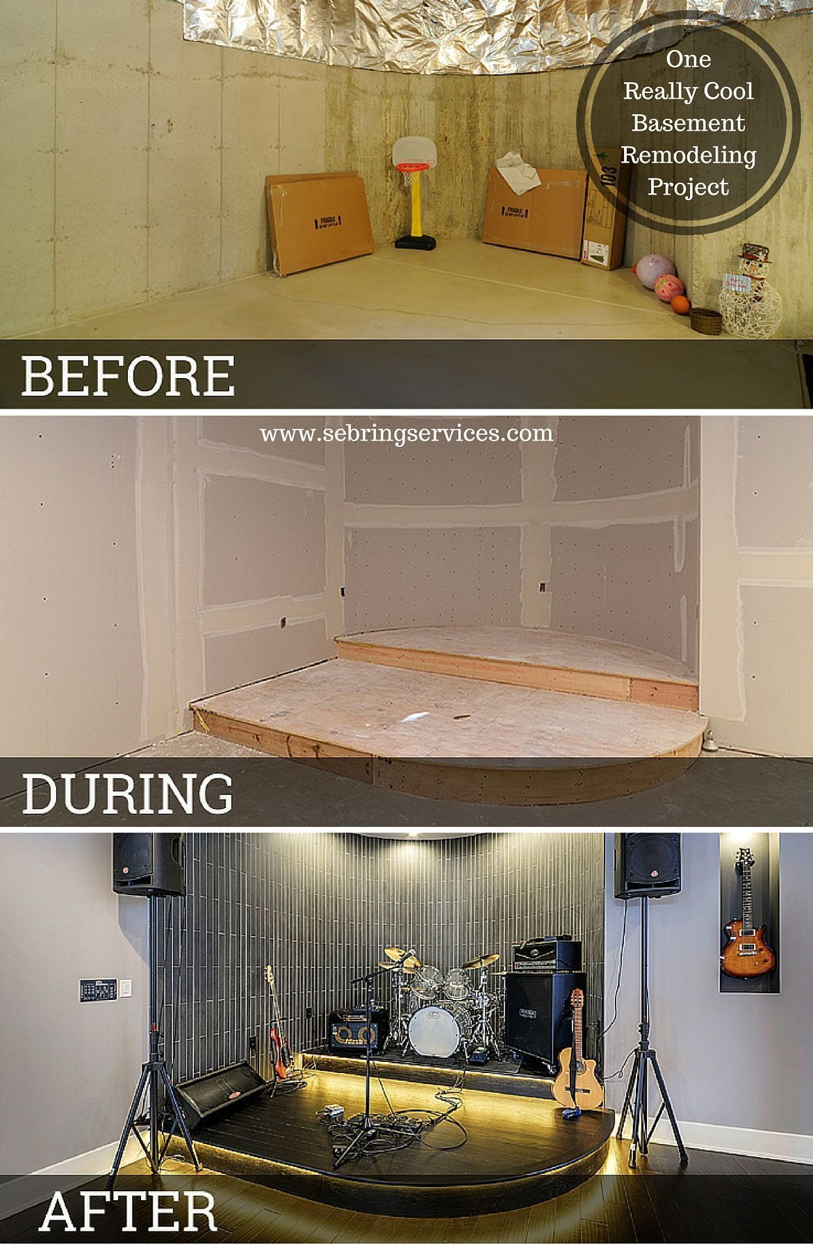 Before After One Really Cool Basement Remodeling Project In