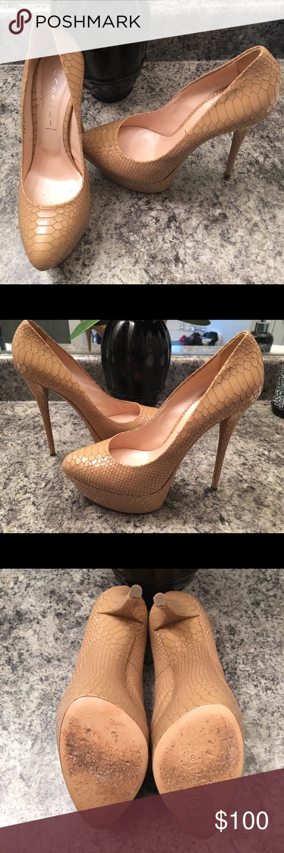 Casadei heel Work twice; great condition; about a 5 to 6 inch heel; it's a size 9 but it's very tight (I'm a true 9). Sexy shoe! Casadei Shoes Heels