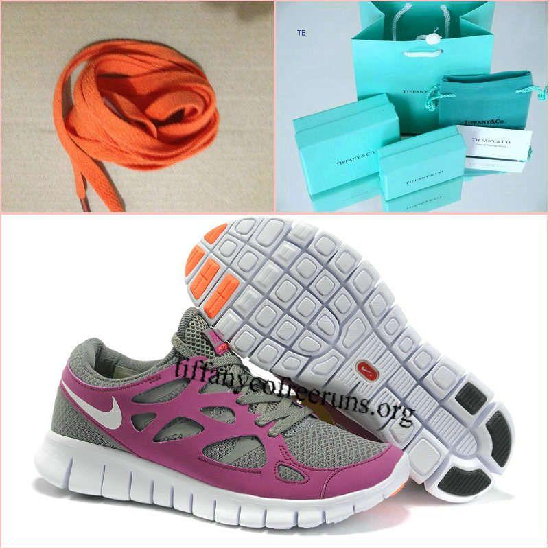 quality design 1418a 6d07a Womens Nike Free Run 2 Tumbled Grey Vivid Grape Total Orange White Shoes  half off