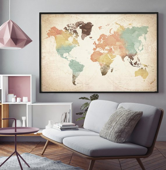 World Map with Countries Watercolor World Map Poster, Countries ...