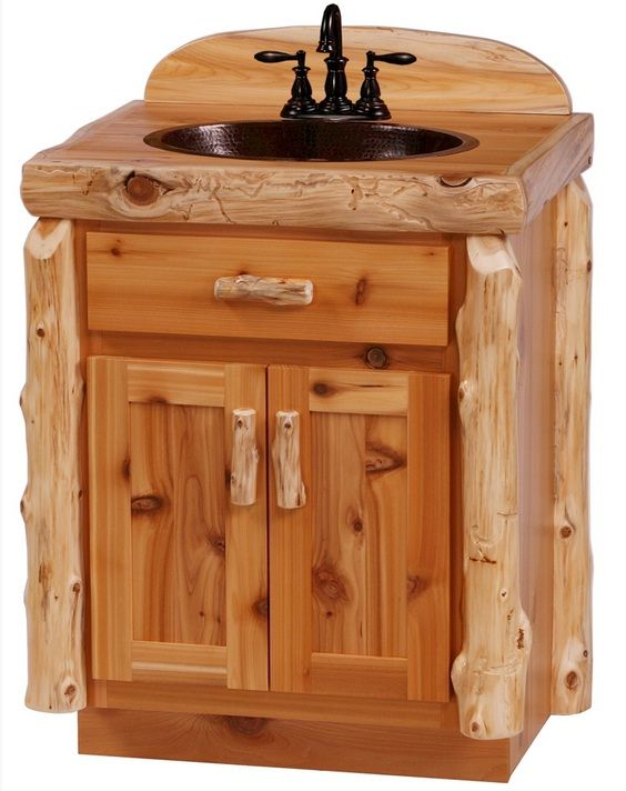 Cedar Log Bathroom Vanity From The Furniture